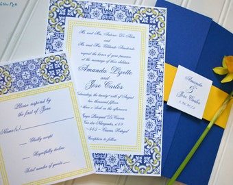 Talavera Tiles/Pottery/Porcelian Wedding Invitations-Portugal, Spain, Mexico