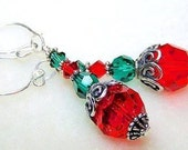 Red and Green Christmas Ornament Earrings