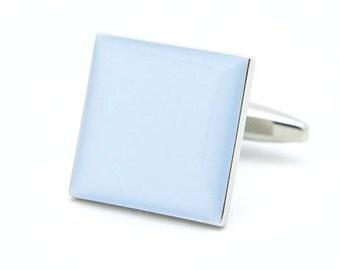 Plain Blue Square Cufflinks