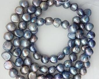 9-10mm Gray blue  peacock   Side Drilled Potato freshwater pearls  - Full Strand