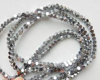 3mm Silver  Hematite cube beads ,full strand