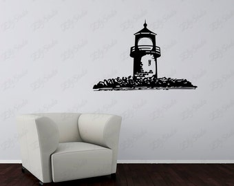 Lighthouse Wall Decal, nautical design art sticker, vinyl sticker for wall, Light house and rocks custom stickers - 133