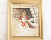 Vintage Framed Painting - Girl Sweeping Brush Winter Snow Decor Hanging