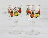 Vintage Drinking Glasses Barware - Fruit Summer Cantrell Cochrane CC Pineapple Lime