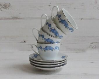 Vintage Blue Flower Teacup Set - Silver Coffee Drink Serving Display Cake Czechoslovakia Scones