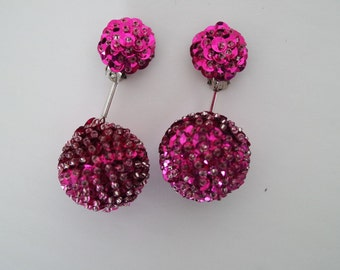 Unique Hot Pink Vintage Clip on Earrings