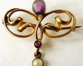 Antique French art nouveau gold fill faux amethyst and pearl brooch
