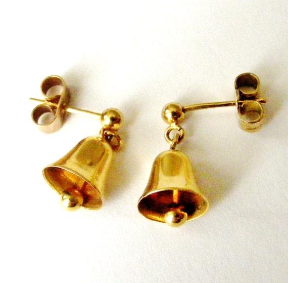 Gold Wedding Bells: Cute 9ct / 9k Gold Wedding Bell Earrings