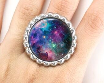 Galaxy Bottlecap Adjustable Ring