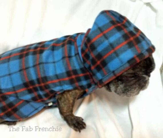 French Bulldog Blue Plaid  Fleece Hoodie