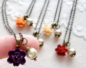 Romantic rose and pearl necklace, choose your colour, eggplant, tangerine, dusty blue, straw, crimson, bridesmaid jewelry, Romance Abounds