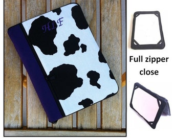 personalized HARD case - ipad case/ kindle case/ nook case/ samsung case/ others - full zipper close HARD CASE - cow