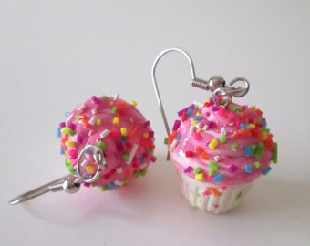 Pink Confetti Cupcake Earrings