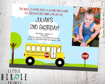 BUS INVITATION Bus Birthday Invitation Wheels on the Bus Invitation PRintable file with photo