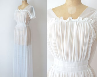 1950s Sheer Micro Pleated Nightgown / 50s Lingerie