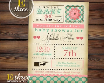 Shabby Chic Girl's Baby Shower Invitation - Vintage Pink and Turquoise Shower Invite #1042