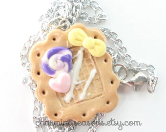 Decoden Cookie Pendant Necklace, Kawaii Harajuku Sweets Decora Polymer Clay Dessert Jewelry