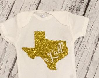 Gold Glitter Texas Y'all Shirt/ Gold Glitter Texas Y'all Bodysuit
