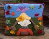 Crochet Falling Leaves Pillow Home Decor
