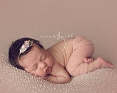 newborn simple lace pants (Nicole) - photography prop - dusty pink, pink, mauve, lace