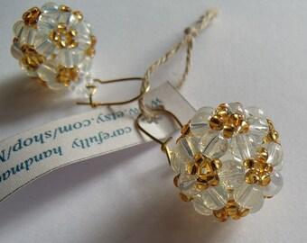 SALE : was 27, now 17! Opale glass beading beaded earrings handmade  exclusive ellegant