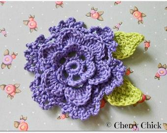 Crochet Flower - Crochet Applique - Flower Applique - Crochet Flower Motifs - Viola Purple - Embellishment - Large Flower - Scrapbooking