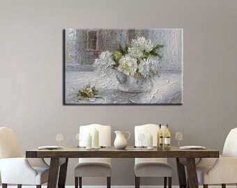 ORIGINAL Painting Oil Painting White Flowers Modern Painitng on canvas Impasto painting Grey tones art painitngs texture painting palette