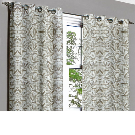 off white leaves grommet unlined curtain in textured jacquard