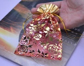 organza jewelry gift bags, wedding party favor /candy bag / gift bag, gold open bags/ gold flower gift bags 6''x4.5''