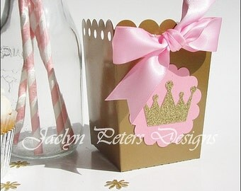 Pink & Gold, Princess Party Favors, Popcorn Boxes, Glitter Tiara Crown, Girl's Birthday, Baby Shower Decor, Dessert Table Supply, Set Of 12