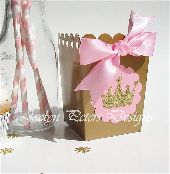 Pink & Gold Princess Party Favors Popcorn Boxes Glitter