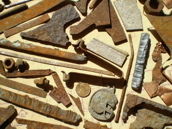 60 Rusty Metal Pieces Found Objects for by JetsamAndJuniper