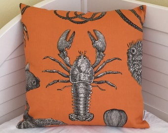 Thomas Paul for Duralee Adriatic in Papaya Lobster and Octopus Indoor Outdoor Designer Pillow Cover - Square and Euro Sizes