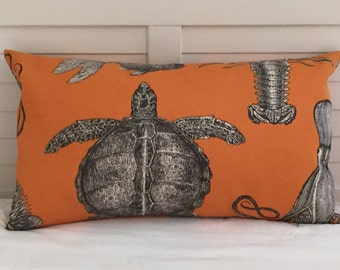 Thomas Paul for Duralee Adriatic in Papaya Turtle and Crab  Indoor Outdoor Pillow Cover