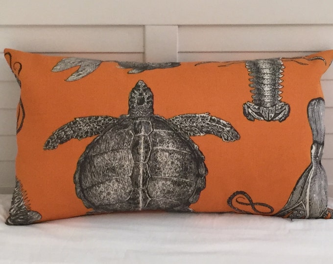 Thomas Paul for Duralee Adriatic in Papaya Turtle and Crab  Indoor Outdoor Pillow Cover, 12x20 Lumbar