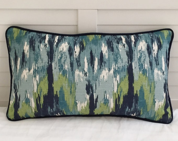 LABOR DAY SALE, Duralee Aegean Watery Ikat (Both Sides) Designer Lumbar Pillow Cover with  Piping 12x20