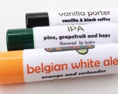 Craft Beer-flavored Lip Balms - IPA, Vanilla Porter, & Belgian White Ale lip balm trio - craft beer lip balms from Aromaholic