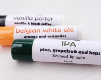Any 3 Craft Beer-flavored Lip Balms - you choose flavors - craft beer lip balms from Aromaholic