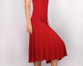 Miriam Spinning Dress in Rayon Lycra RED - Dance Wear, Active Wear