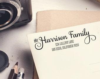 "Self inking stamper / Wood handle stamp / Wedding invite stamp / Family address stamp / Self Inking Stamp / Return Address - the ""Harrison"""