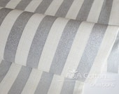 Stripe in Metallic Silver Print, Quilting Weight Cotton textile, Designed Cotton Fabric, Heavy Metal Collection, Camelot Design Studio