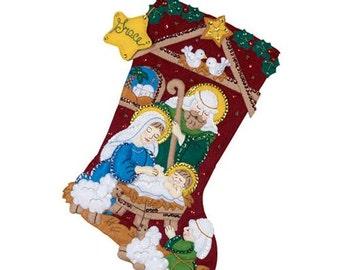 "NATIVITY STOCKING The Reason For The Season 18"" Bucilla Felt Appliqued Christmas Stocking"