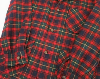 Vintage Pendleton Tartan Plaid Flat Front Pocket Unlined Jacket Size Medium