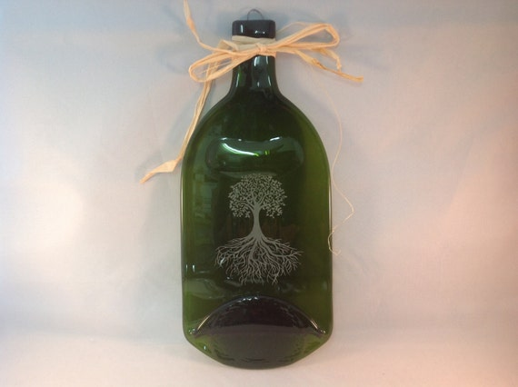 1 5l fused wine bottle cheese tray tree of life. Black Bedroom Furniture Sets. Home Design Ideas