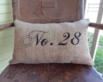 Custom Address or Number Burlap Pillow Decorative Throw Pillow Custom Colors Available housewarming hostess Porch Decor Gift Home Decor