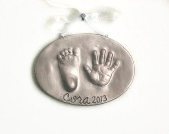 Ceramic Hand and Footprint Plaque -  Personalized Baby Keepsake Gift - Baby and Child Ornament