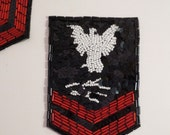 Beaded Military Style Applique Beaded in Red Black and White--One Piece