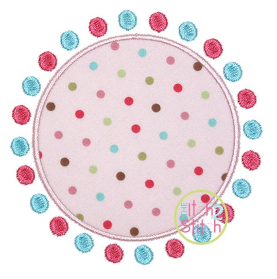 "Dots Circle Patch Applique, shown with our ""Intertwine Vine"" Font NOT Included, sizes 4x4, 5x5, 6x6, & 7x7, instant downloads available"