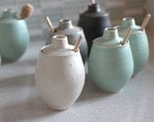Pottery Honey Pot - Polka Dot Frost White Ceramic Pot