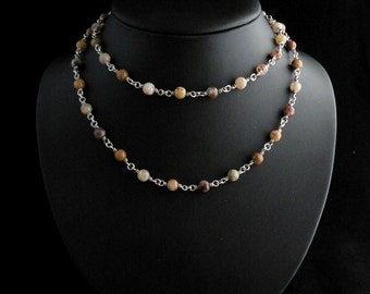Agate Bead Linked Chains Necklace in Sterling Silver